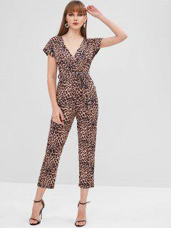 Leopard Belted Surplice Jumpsuit - Leopard L