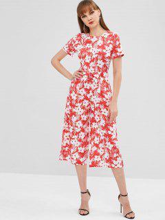 Flower Belted Pocket Wide Leg Jumpsuit - Red M