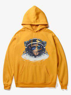 Cartoon Monkey Astronaut Print Fleece Hoodie - Yellow Xs