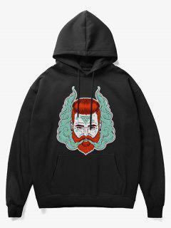 Man Head With Smoke Print Fleece Hoodie - Black M