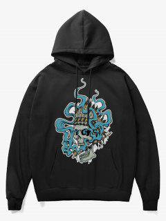 Smoking Skull Print Fleece Hoodie - Black M