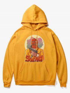 Cartoon Bad Guy Print Fleece Hoodie - Yellow S