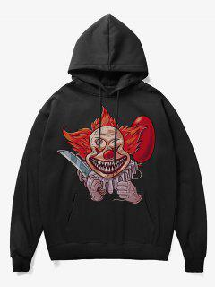 Clown Print Fleece Hoodie - Black S