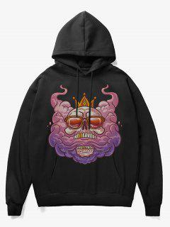 Cartoon Skull King Print Fleece Hoodie - Black Xs