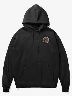 Skull Soldier Print Fleece Hoodie - Black Xs