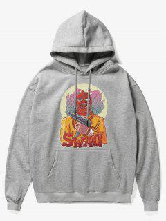 Cartoon Bad Guy Print Fleece Hoodie - Gray S