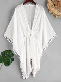 Tassel Lace Sheer Cover Up - White