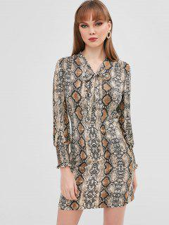 Smocked V Neck Snakeskin Print Dress - Multi M