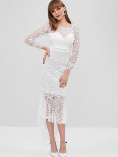 Scalloped Lace High Low Mermaid Dress - White M