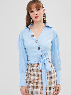 Knotted Button Up Top - Sea Blue M