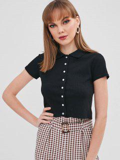 Button Up Plain Crop Tee - Black M