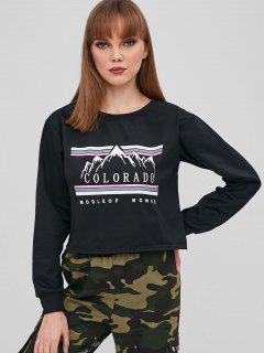 Letter Graphic Pullover Crop Sweatshirt - Black L