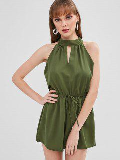 Cut Out Sleeveless Wide Leg Romper - Army Green S