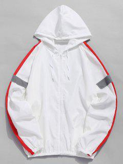 Side Reflective Stripe Patchwork Jacket - White Xl