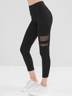 Elastic Mesh Insert Skinny Leggings - Black S