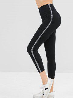 Elastic Skinny Plaid Trim Leggings - Black L