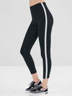 Elastic Side Glitter Trim Leggings - Black L