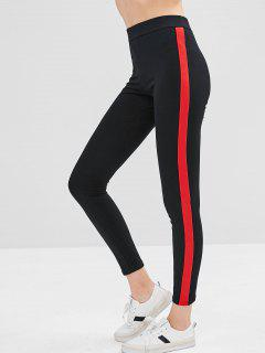 Two Tone Elastic Skinny Leggings - Black M