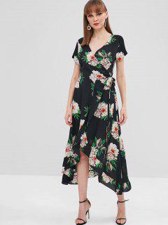 Ruffle Floral Wrap Dress - Black L