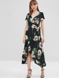 Ruffle Floral Wrap Dress - Black M