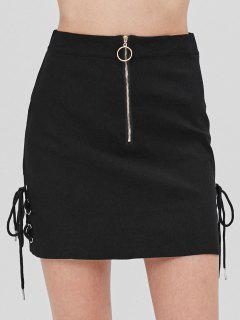 Lace Up Front Zipper Skirt - Black Xl