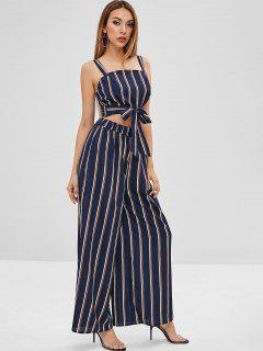 Back Zip Striped Knotted Top Set - Midnight Blue S