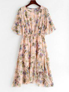 Ruffles Floral Asymmetrical Dress - Light Pink Xl