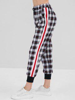 Plaid Drawstring Waist Jogger Pants - Black L