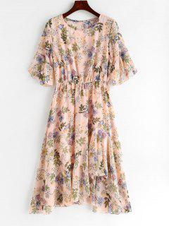 Robe Asymétrique Fleurie à Volants - Rose Léger  L