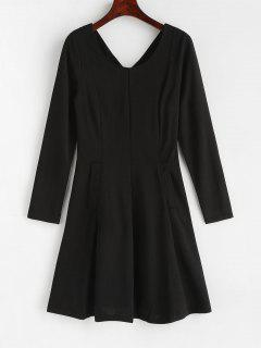 Back Zipper Pockets A Line Dress - Black L