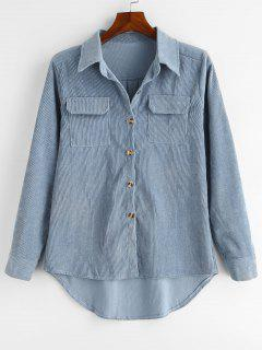 Flap Pockets High Low Corduroy Shirt - Blue Gray M