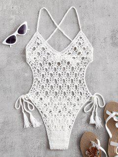 Tie Side Crochet Monokini - Blanco M