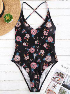 ZAFUL Criss Cross Floral High Cut Swimsuit - Multi S