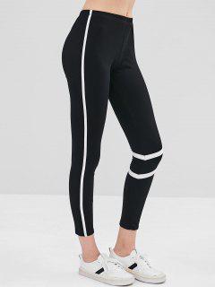 Contrast Trim Skinny Mid Rise Leggings - Black L