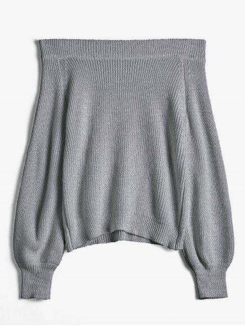 trendy Off The Shoulder Lantern Sleeve Pullover Sweater - DARK GRAY ONE SIZE Mobile