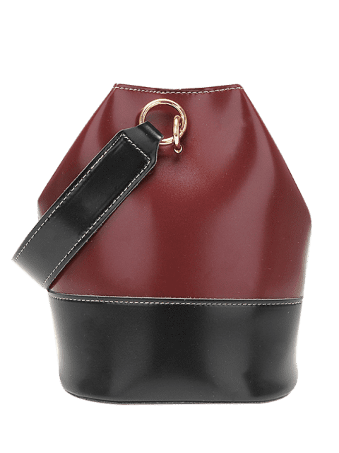 unique Fashionable Color Spliced Decoration HandBag - RED WINE  Mobile