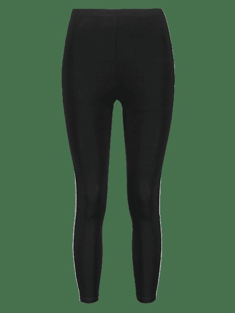 shop Elastic Skinny Glitter Trim Leggings - BLACK L Mobile