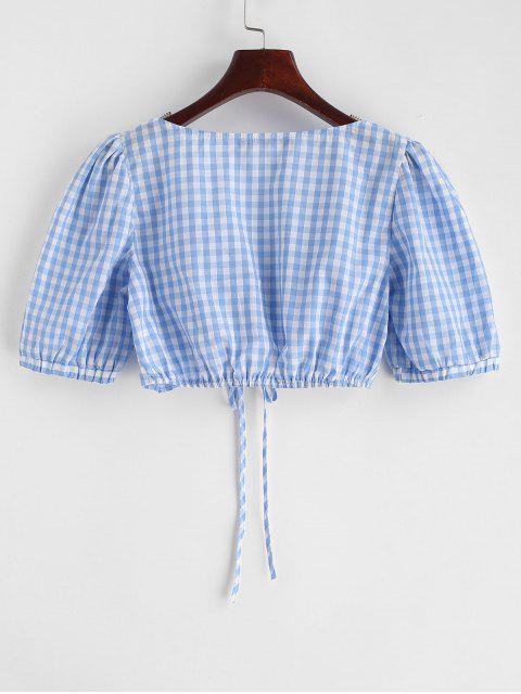 women's ZAFUL Cinched Gingham Crop Blouse - LIGHT BLUE M Mobile