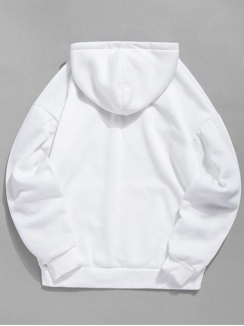 shop Dog Print Plush Kangaroo Pocket Hoodie - WHITE L Mobile