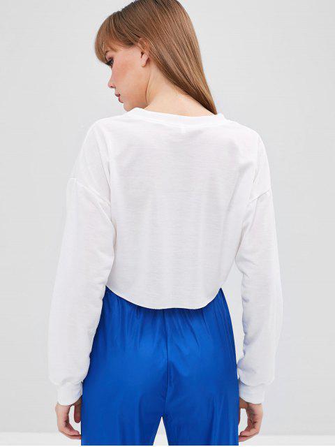 Sweat-shirt Visage Graphique Court - Blanc M Mobile