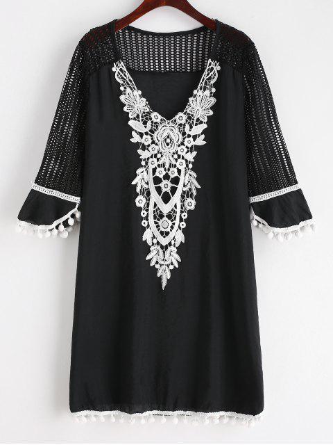 Pom Pom Crochet V cuello cubrir - Negro S Mobile