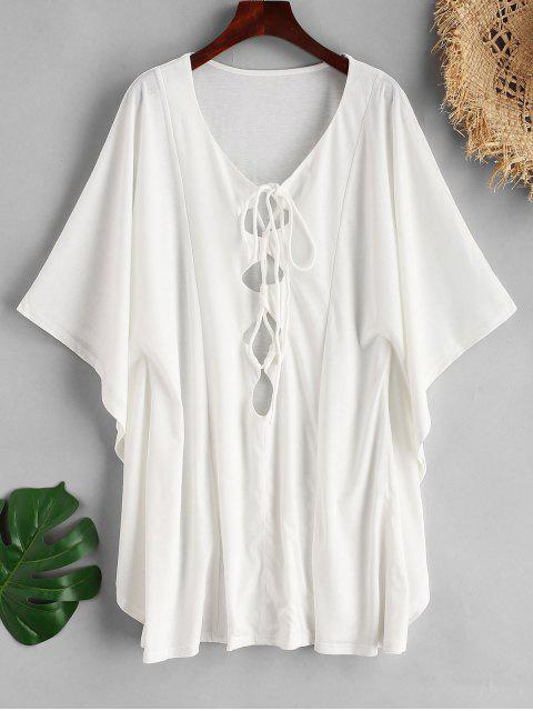 sale Lace Up Butterfly Sleeve Cover Up - WHITE M Mobile