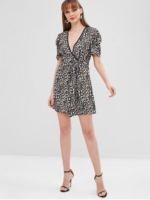 women's Leopard Mini Wrap Dress - LEOPARD M Mobile
