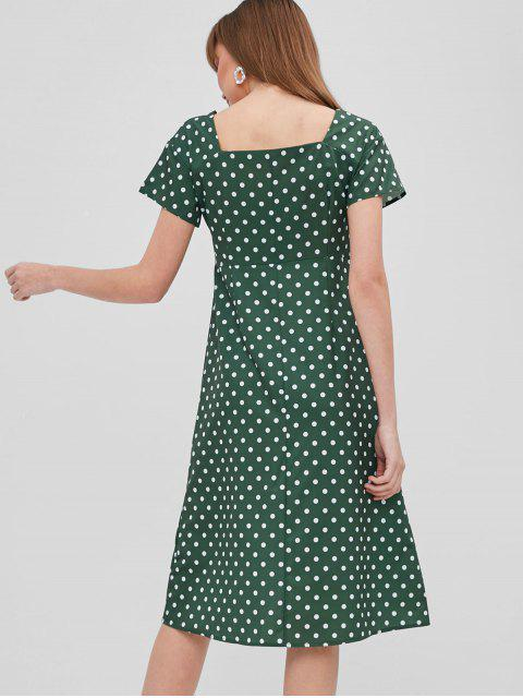 outfit Polka Dot Button Up Asymmetrical Dress - GREEN S Mobile