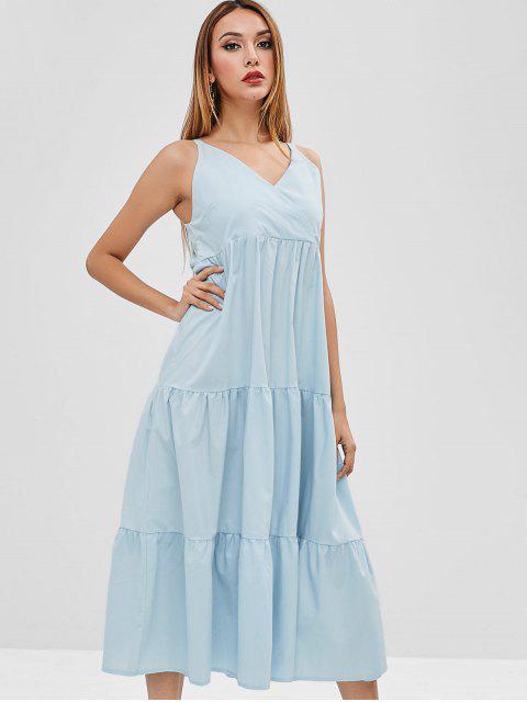 fashion Tiered A Line Midi Dress - LIGHT BLUE L Mobile