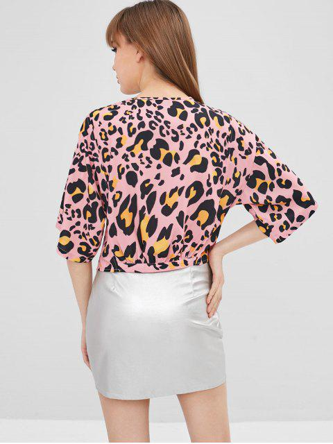 hot Leopard Zipper Crop Blouse - MULTI M Mobile