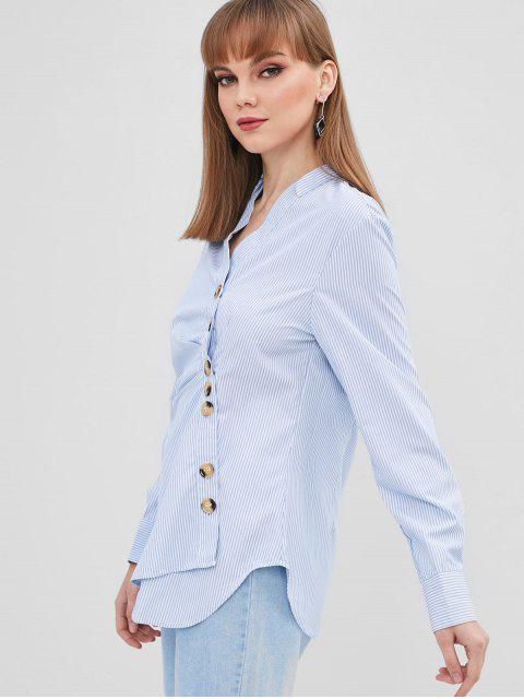 online Striped Asymmetrical Button Shirt - SKY BLUE M Mobile