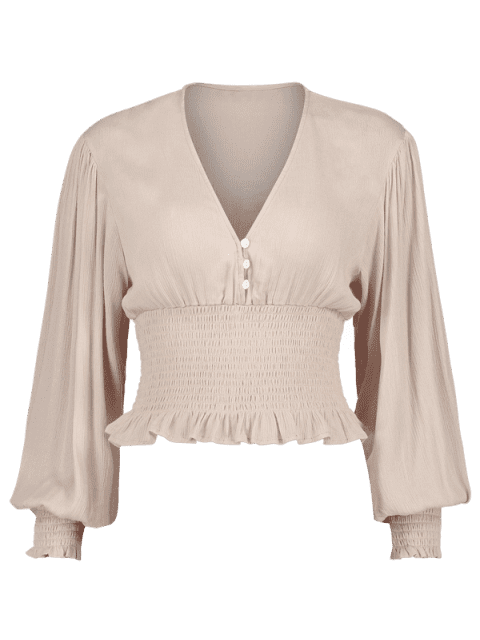 outfits Smocked Plunging Blouse - WARM WHITE S Mobile