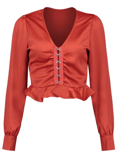 shops V Neck Ruffle Crop Blouse - CHERRY RED L Mobile
