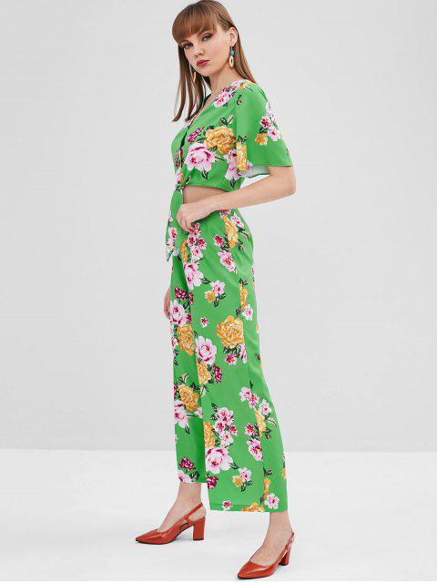 sale Floral Wide Leg Pants Set - GREEN M Mobile